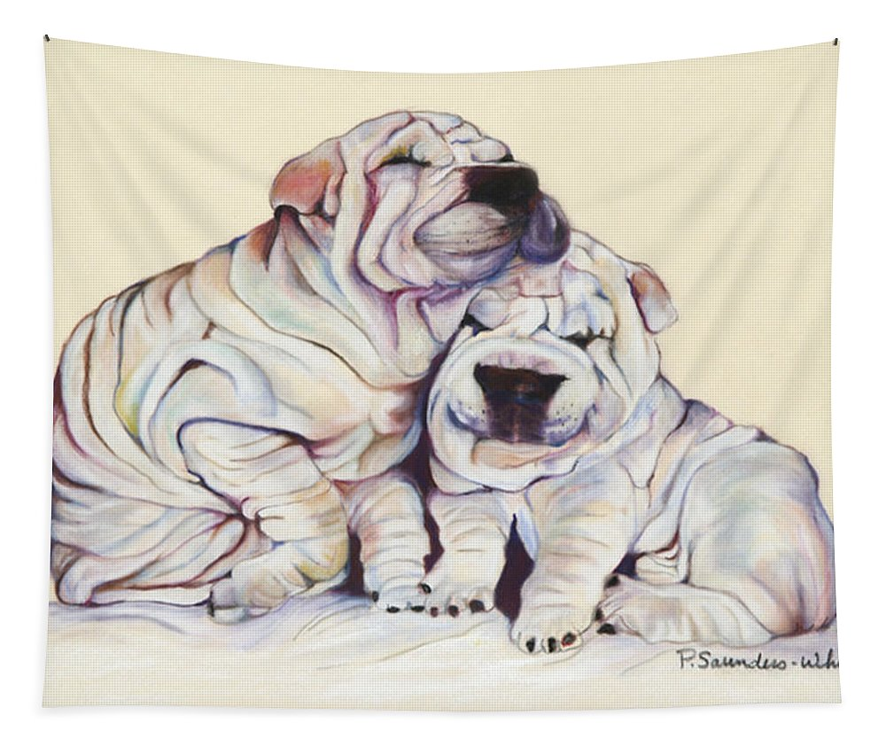 Dog Painting Tapestry featuring the pastel Snuggles by Pat Saunders-White