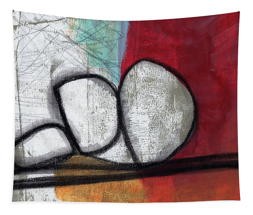 Red Tapestry featuring the painting So We Begin- Abstract Art by Linda Woods