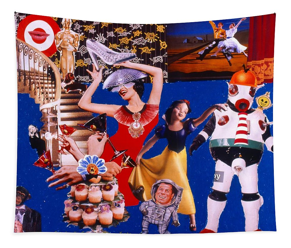 Surreal Tapestry featuring the drawing Soap Scene #23 Oscar's Kiss of Success by Minaz Jantz