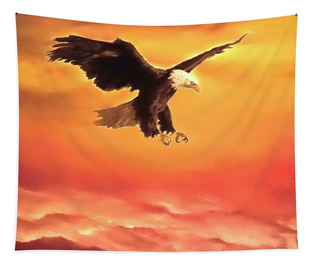 Eagle Tapestry featuring the painting Soaring High by Faye Anastasopoulou