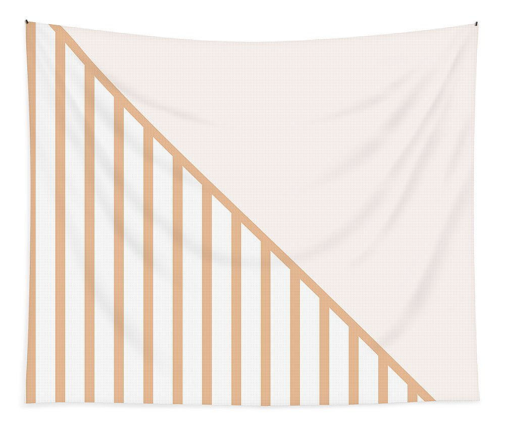 Pink Tapestry featuring the digital art Soft Blush And Coral Stripe Triangles by Linda Woods