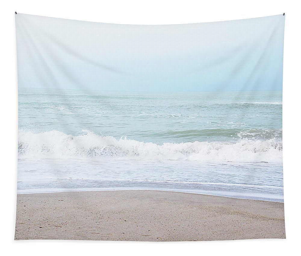 Beach Tapestry featuring the mixed media Soft Waves 2- Art by Linda Woods by Linda Woods