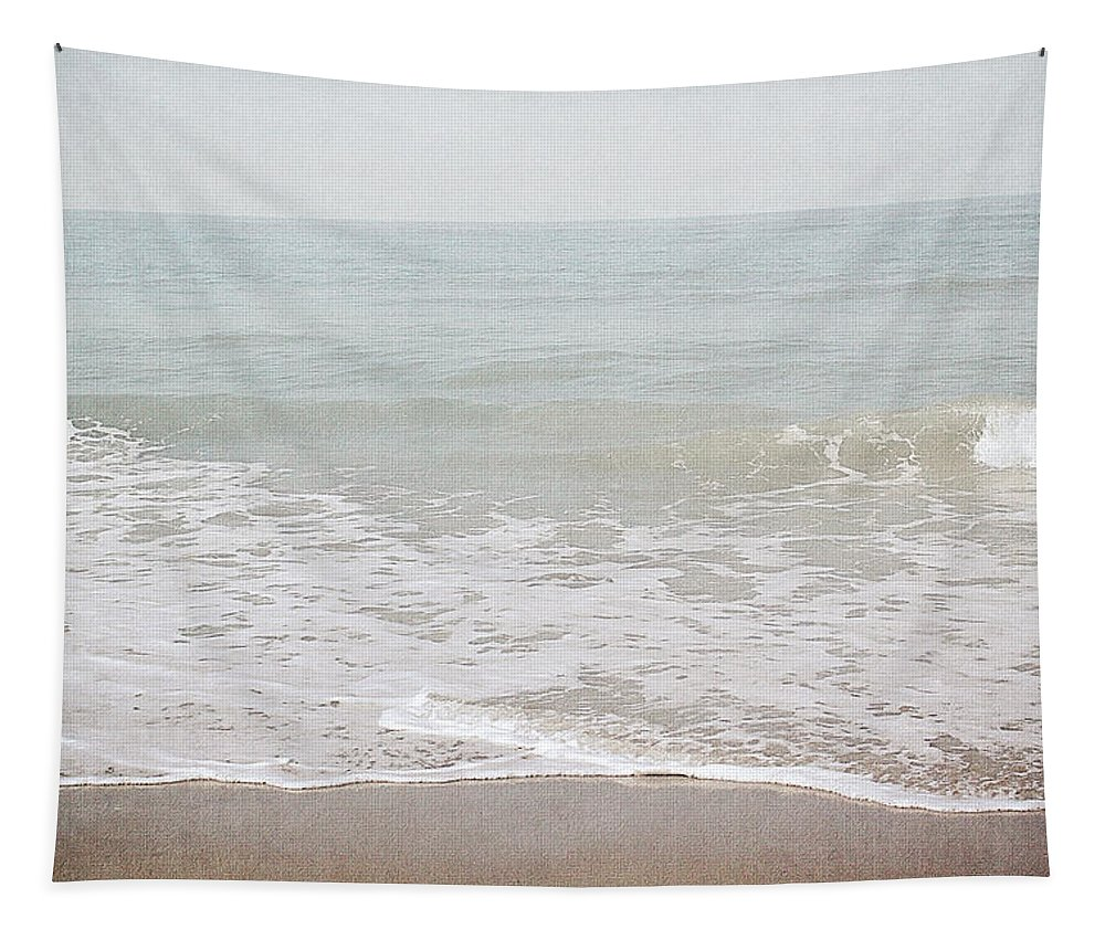 Beach Tapestry featuring the mixed media Soft Waves- Art by Linda Woods by Linda Woods