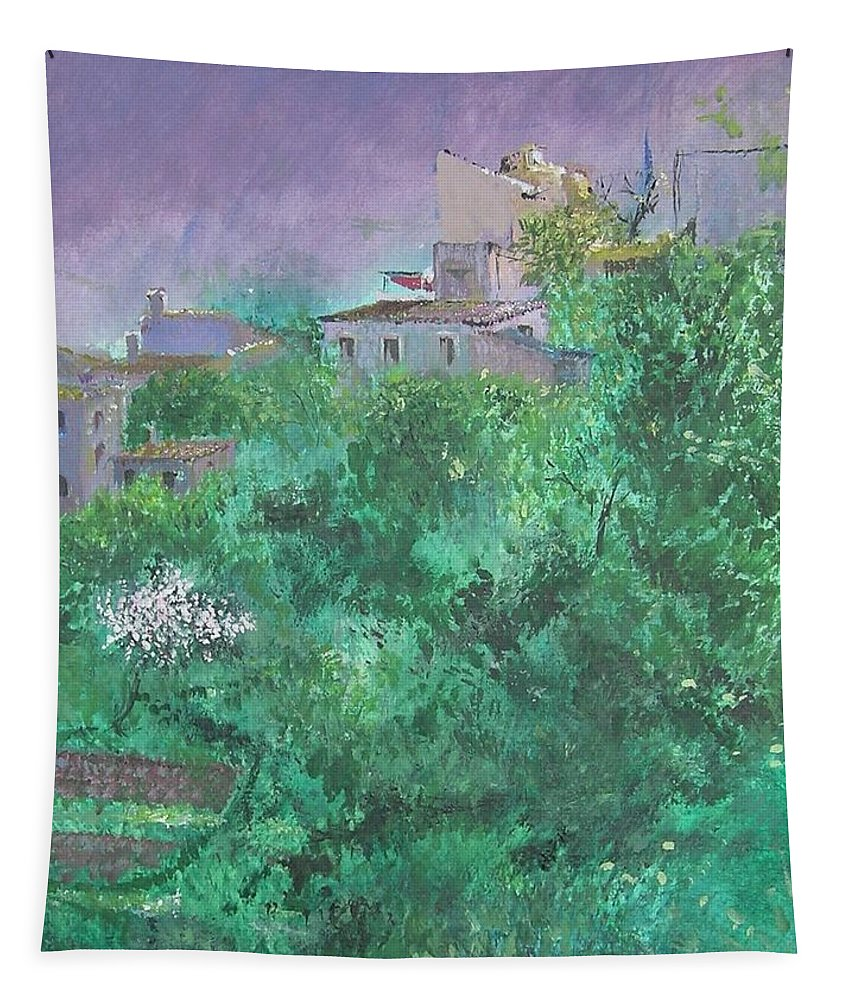 Impressionist Tapestry featuring the painting Solitary Almond Tree In Blossom Mallorcan Valley by Lizzy Forrester