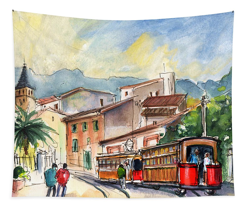 Travel Tapestry featuring the painting Soller In Majorca 01 by Miki De Goodaboom