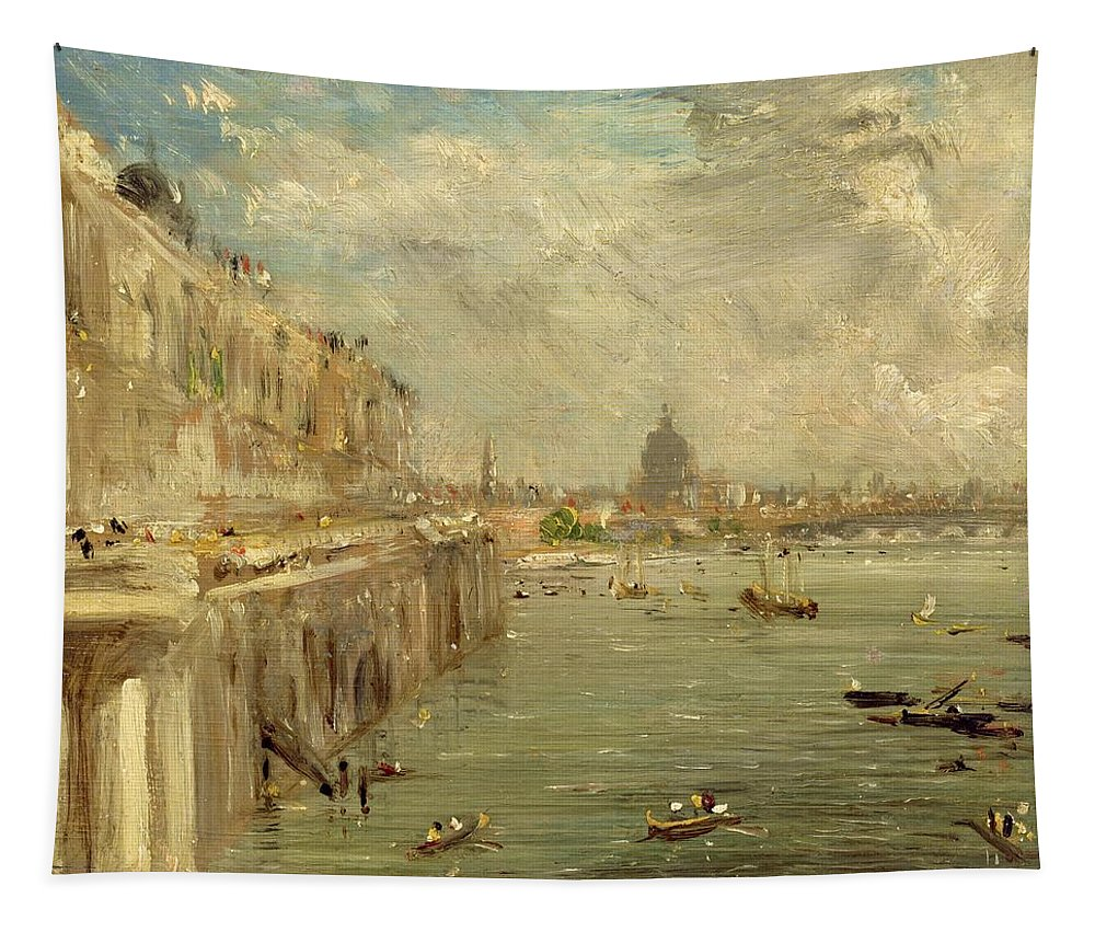 Somerset Tapestry featuring the painting Somerset House Terrace From Waterloo Bridge by John Constable