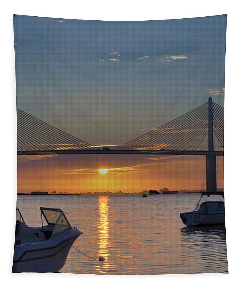 Something About A Sunrise Tapestry featuring the photograph Something About A Sunrise Triptych 2 by Bill Cannon