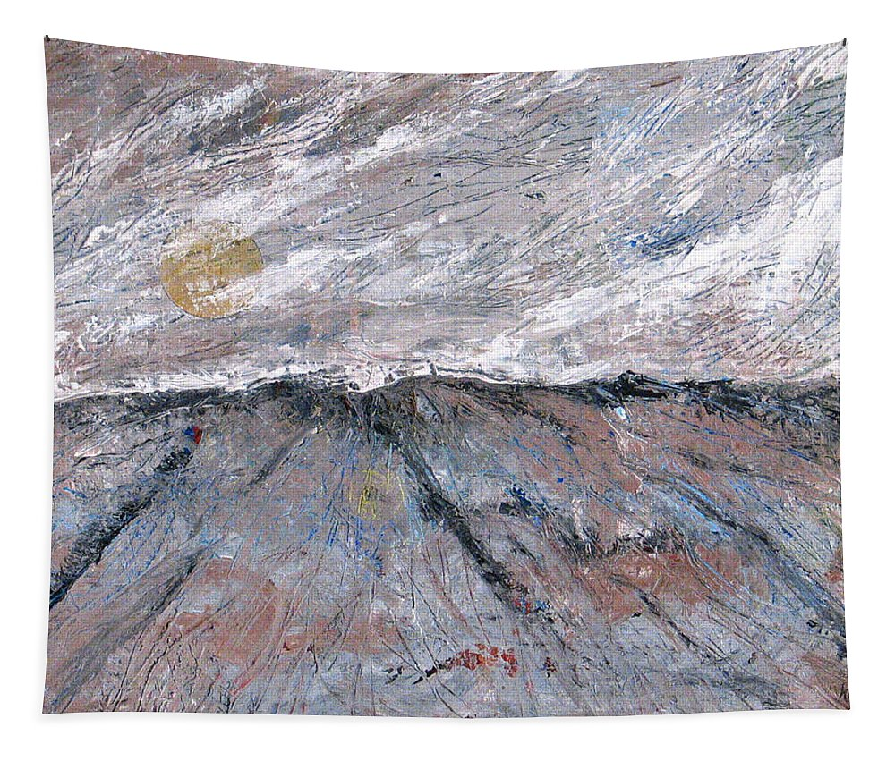 Mountains Tapestry featuring the painting Somewhere Higher by Rollin Kocsis