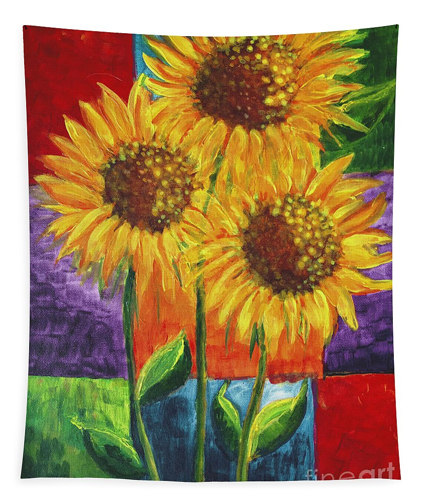 Sunflowers 1 Tapestry featuring the painting Sonflowers I by Holly Carmichael
