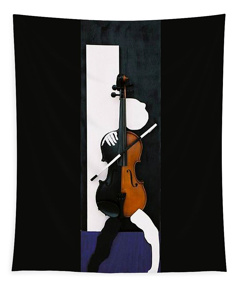 Violin Tapestry featuring the sculpture Soul Of Music by Steve Karol