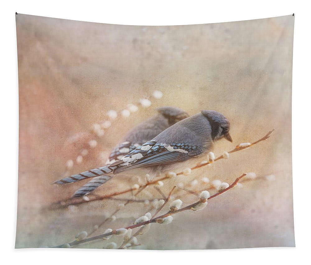 Blue Jay Tapestry featuring the photograph Soulmates by Susan Capuano