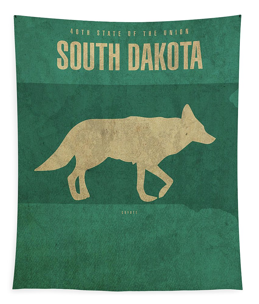 South Dakota Tapestry featuring the mixed media South Dakota State Facts Minimalist Movie Poster Art by Design Turnpike