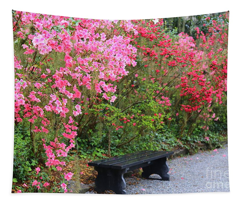 Azaleas Tapestry featuring the photograph Southern Bench With Azaleas by Carol Groenen