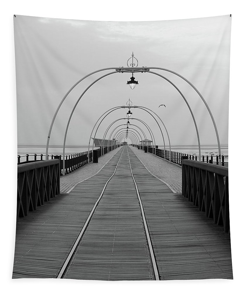Pier Tapestry featuring the photograph Southport Pier At Sunset With Walkway And Tram Lines by Philip Openshaw