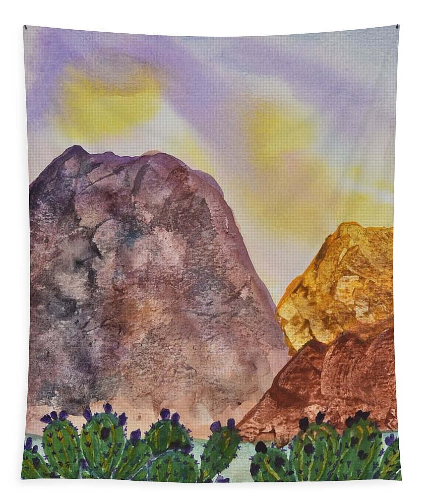 Linda Brody Tapestry featuring the painting Southwest Landscape II by Linda Brody