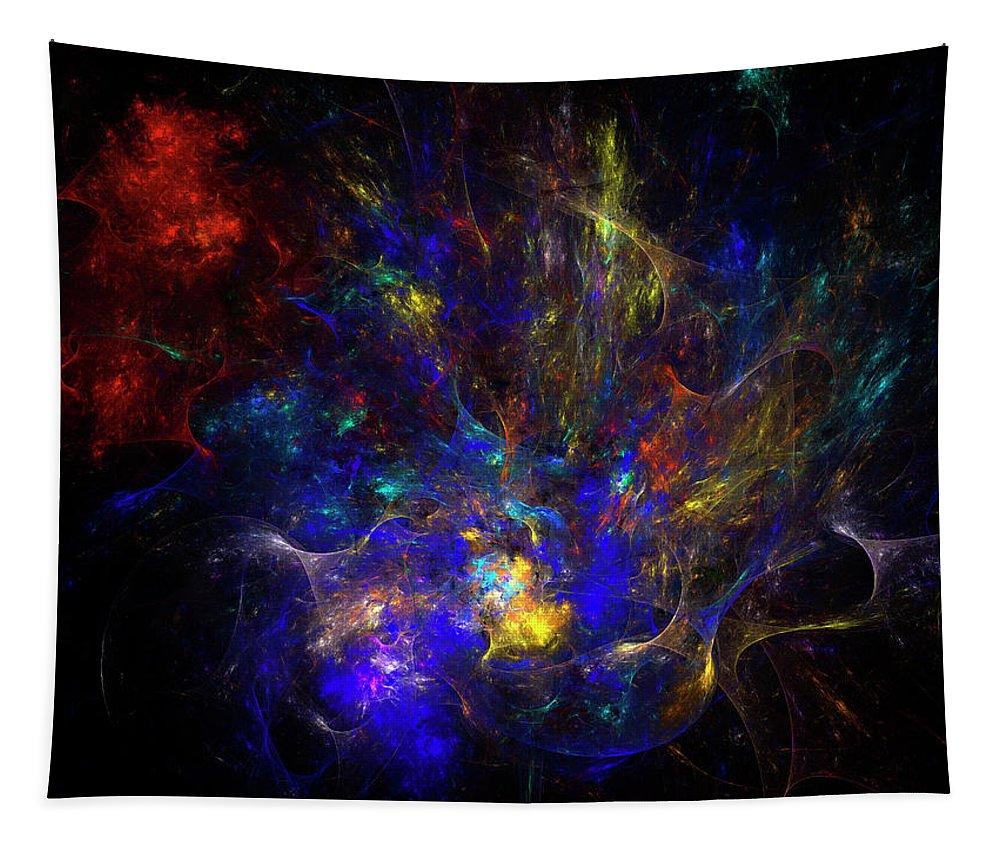 Galaxy Tapestry featuring the digital art Space Flower by Julia Bagryanskaya