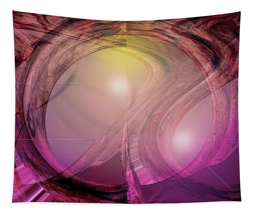 Digital Art Tapestry featuring the digital art Spacebase by Linda Sannuti