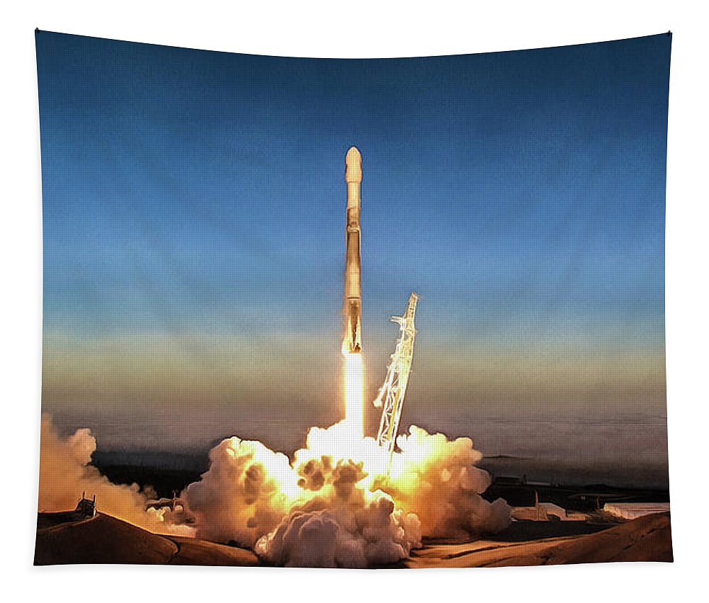 Spacex Tapestry featuring the photograph Spacex Iridium-5 Mission Falcon 9 Rocket Launch by Photo SpaceX Edit M Hauser