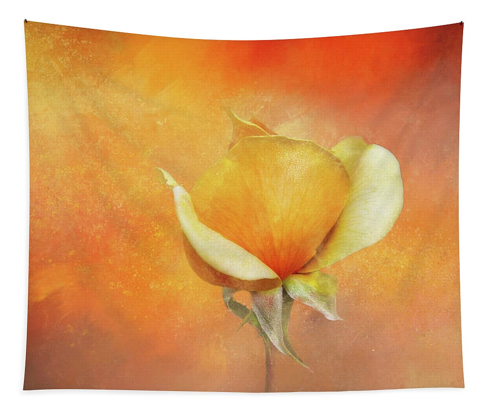 Photography Tapestry featuring the digital art Sparkly Peach Rose by Terry Davis