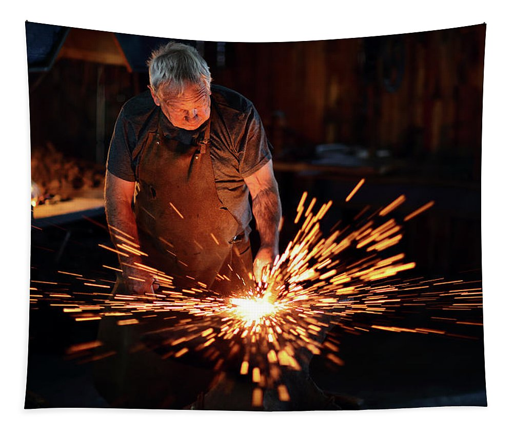 Blacksmith Tapestry featuring the photograph Sparks When Blacksmith Hit Hot Iron by Johan Swanepoel
