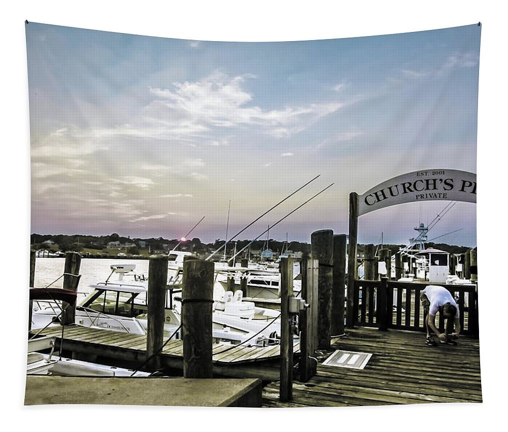 Sun Tapestry featuring the photograph Speared Sunset Over Martha's Vineyard by Madeline Ellis