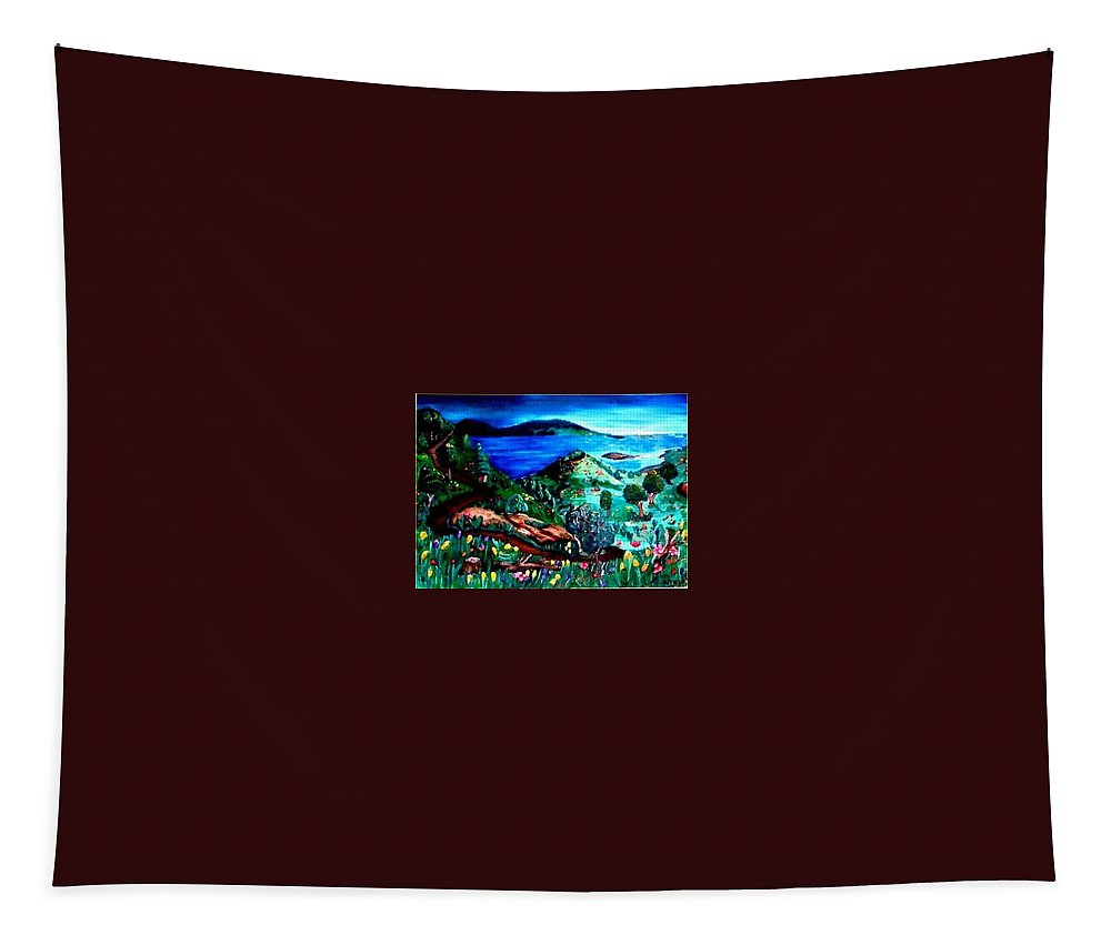Landscape Tapestry featuring the painting Special Land by Andrew Johnson