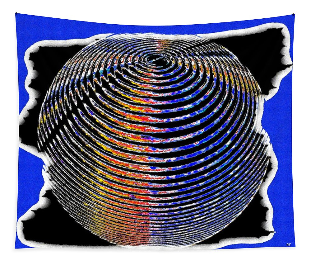 Sphere Tapestry featuring the digital art Sphere In Blue by Will Borden