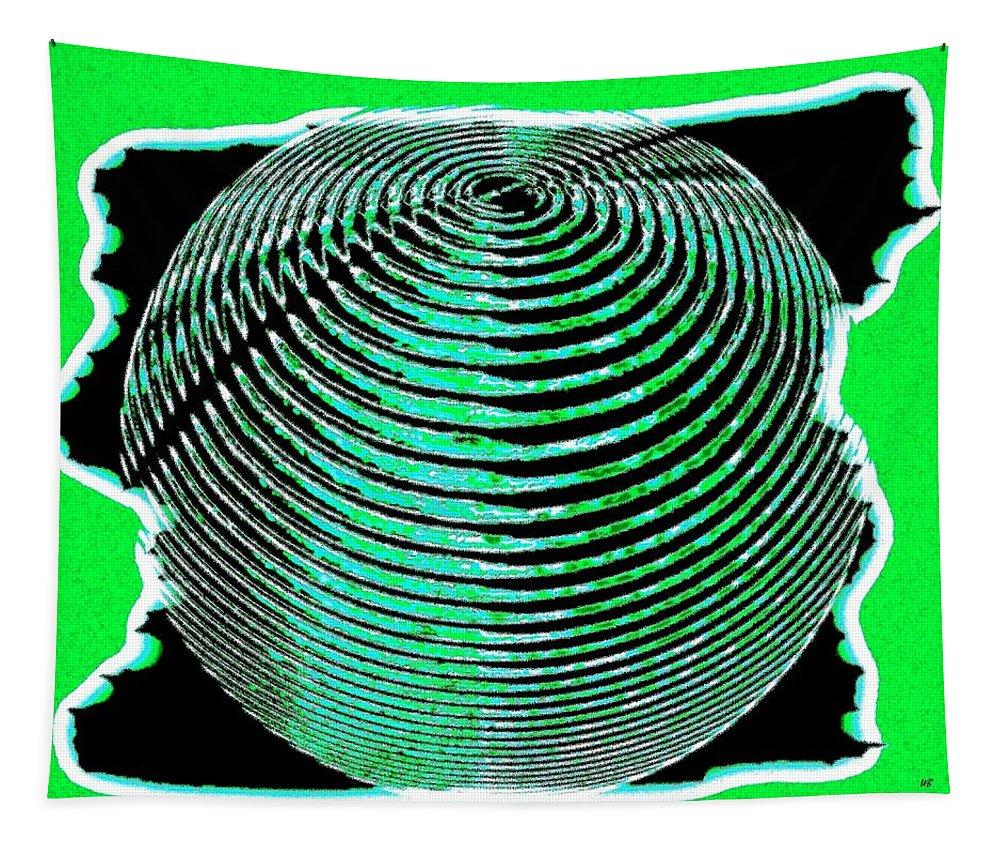 Sphere Tapestry featuring the digital art Sphere In Green by Will Borden