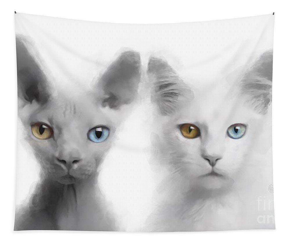 Sphynx Tapestry featuring the digital art Sphynx And Main Coon Paint No 01 by Maria Astedt