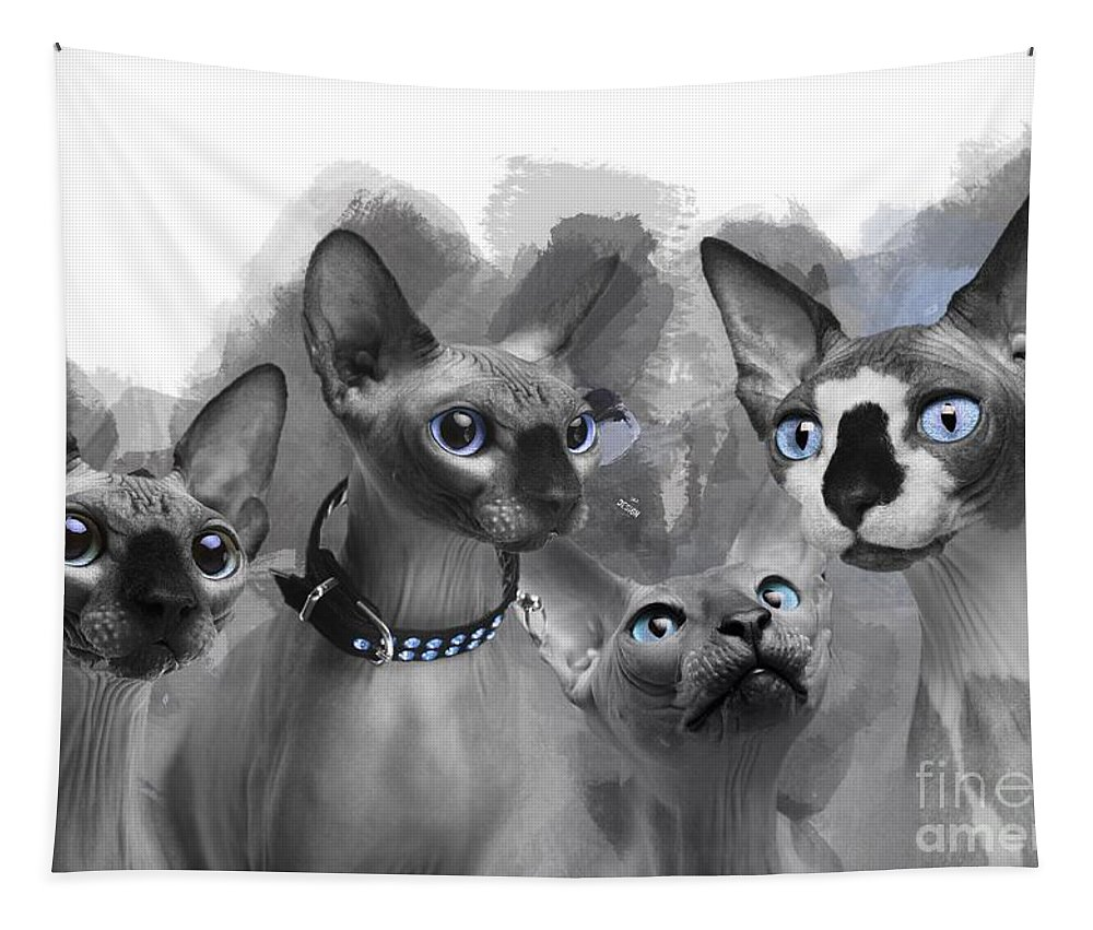 Imia Design Tapestry featuring the digital art Sphynx Group No 02 by Maria Astedt