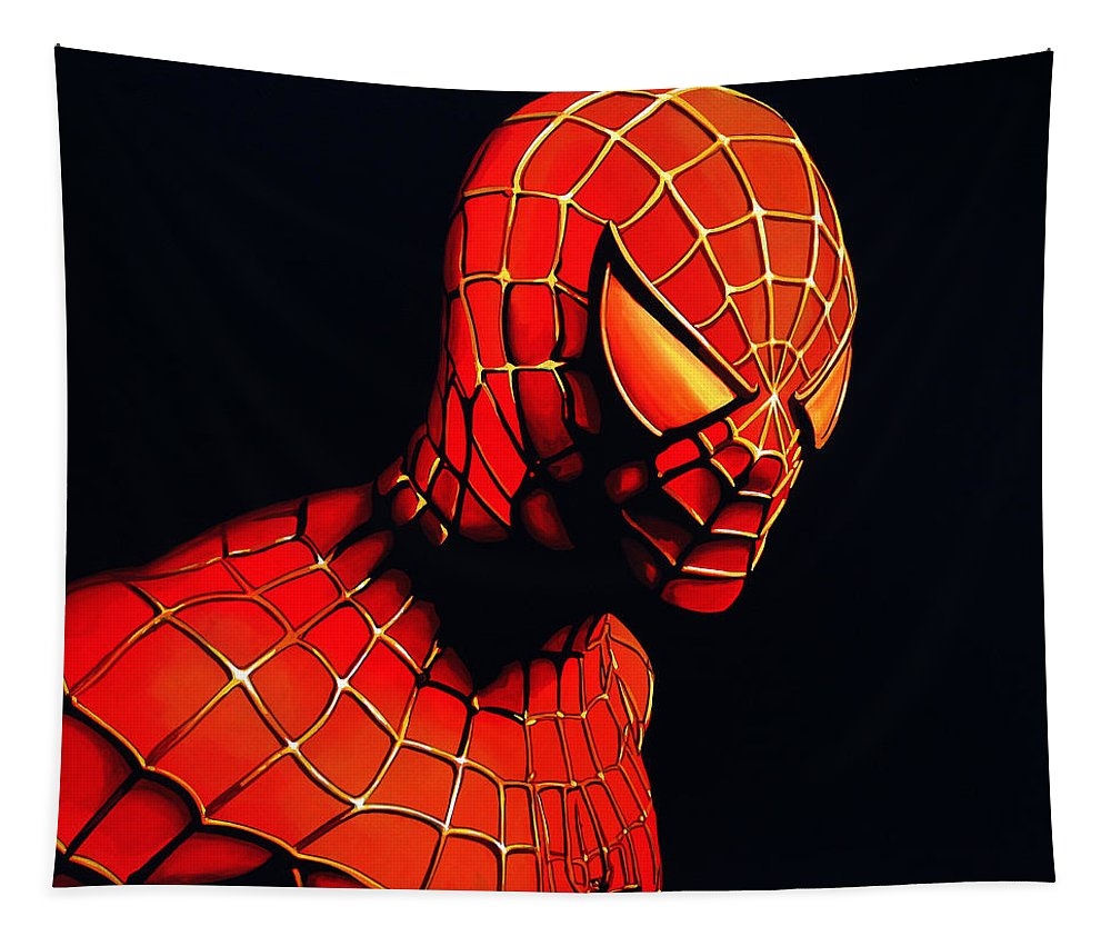 Spiderman Tapestry featuring the painting Spiderman by Paul Meijering