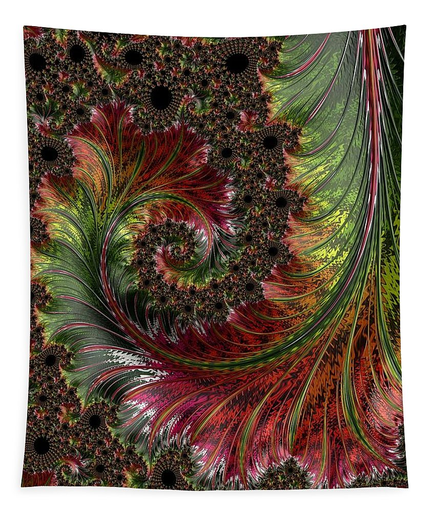 Spiral Tapestry featuring the digital art Spiralling Fractal One by Mo Barton