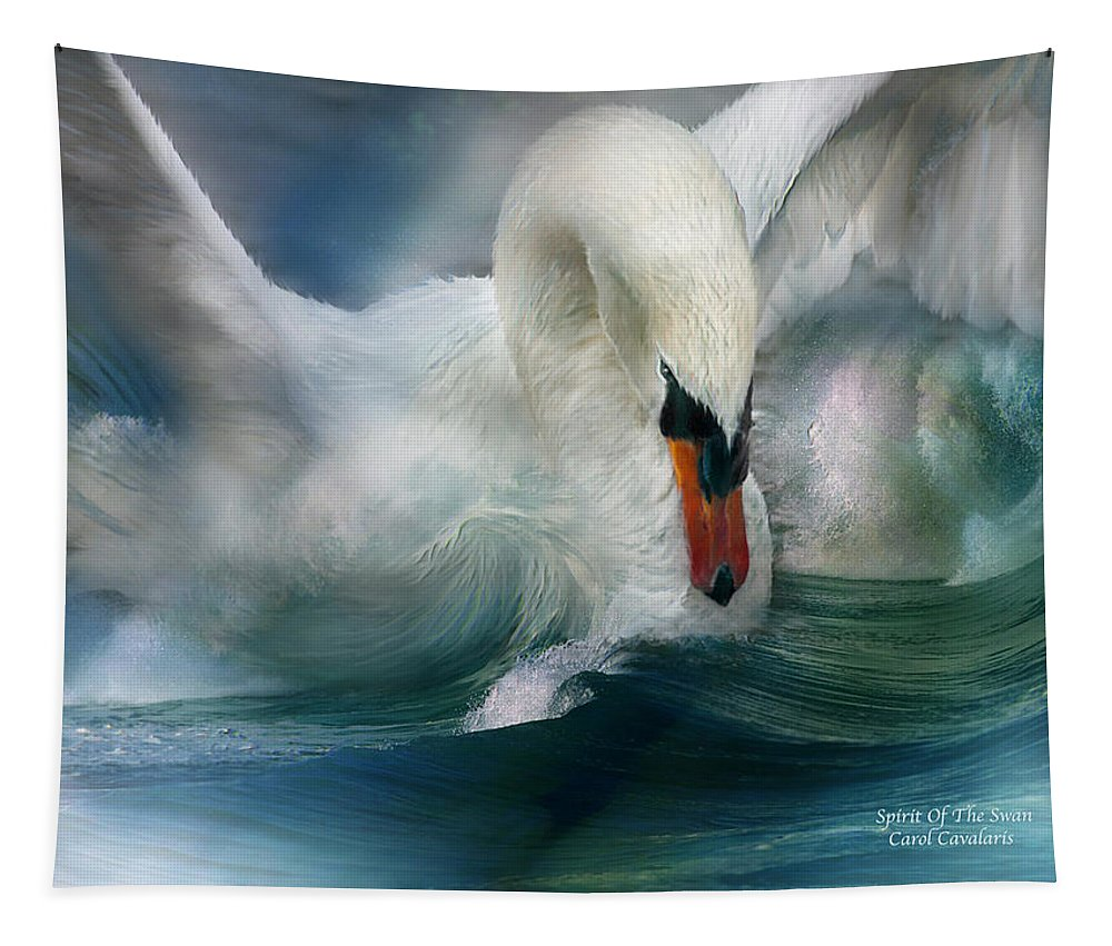 Swan Tapestry featuring the mixed media Spirit Of The Swan by Carol Cavalaris