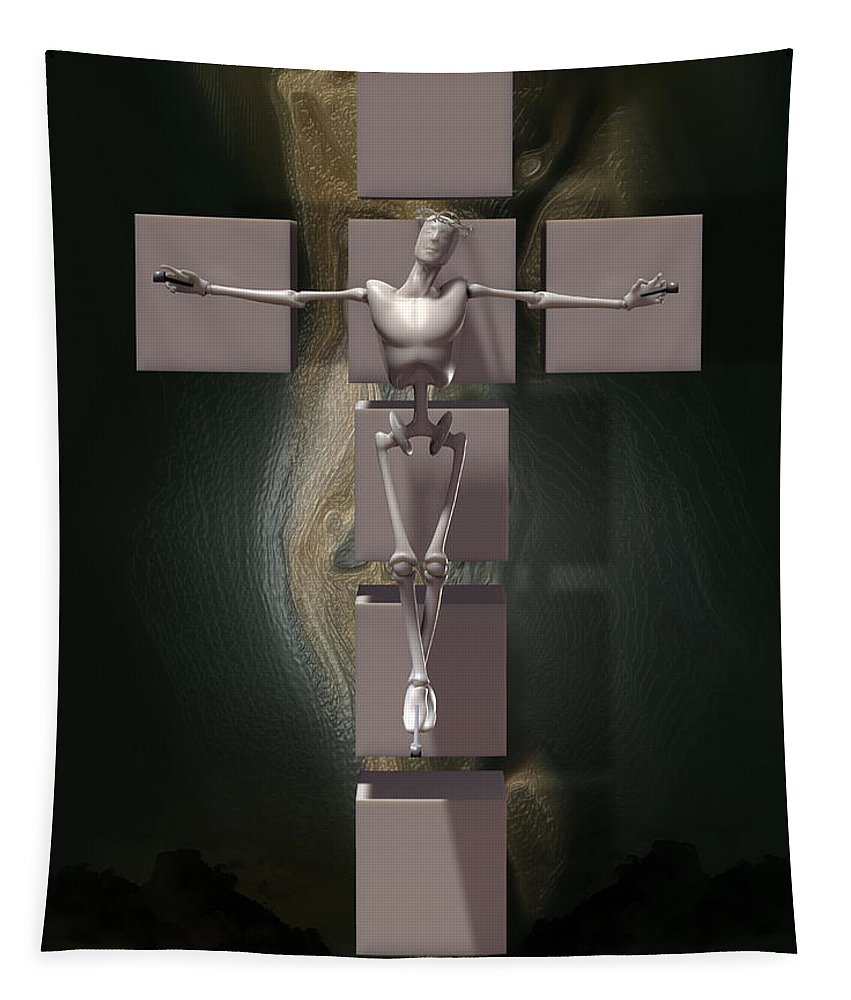 Robot Lover Tapestry featuring the digital art Spiritual Prototype Artificial by Quim Abella