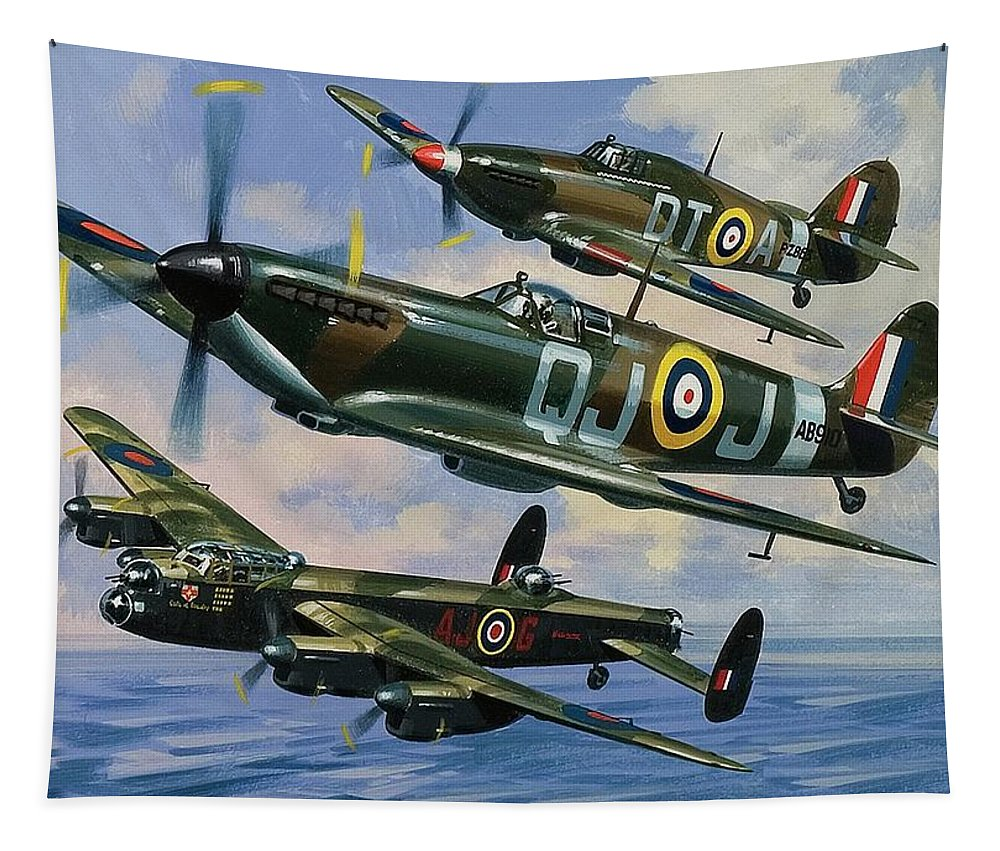 Spitfires Tapestry featuring the painting Spitfires by Wilf Hardy