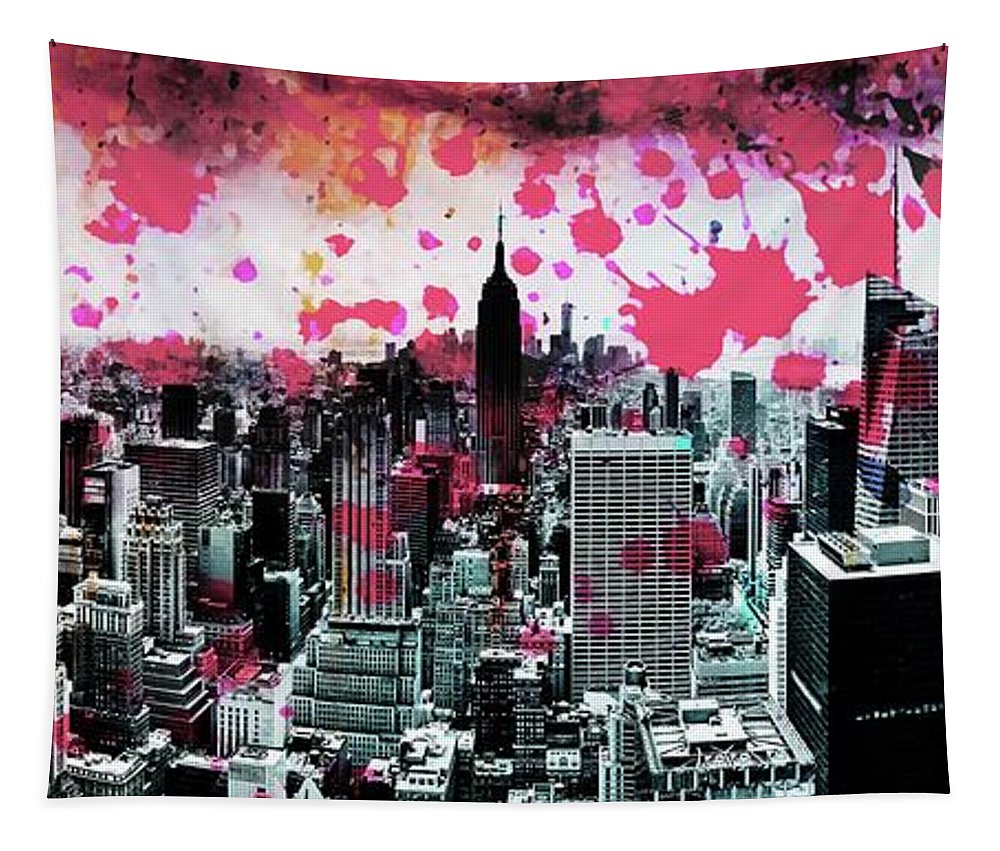 Empire State Building Tapestry featuring the photograph Splatter Pop by Az Jackson