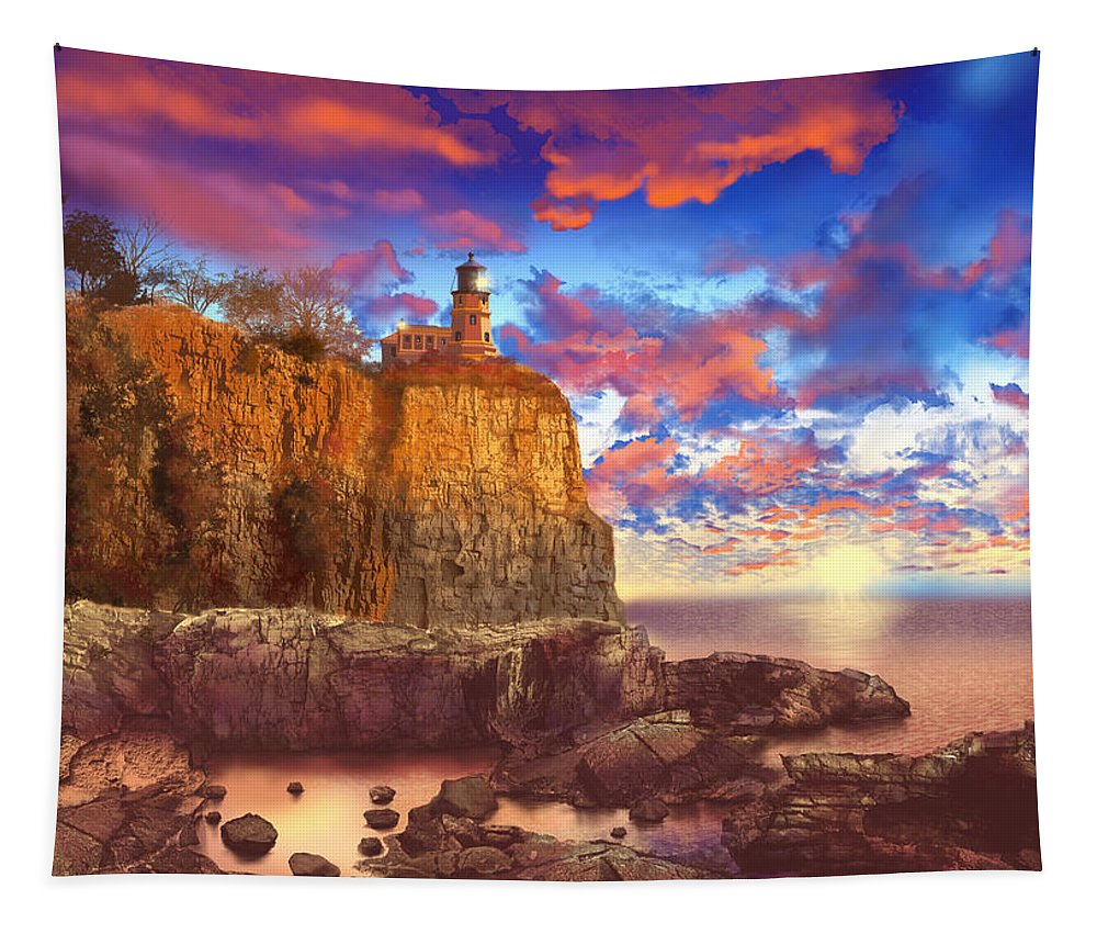 Lighthouse Tapestry featuring the painting Split Rock Lighthouse by Bekim Art