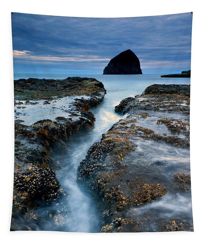 Cape Kiwanda Tapestry featuring the photograph Splitting Stone by Mike Dawson