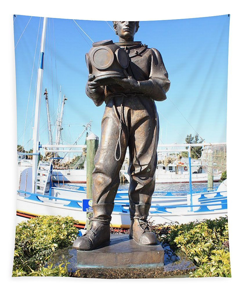 Tarpon Springs Tapestry featuring the photograph Sponge Diver Memorial by Carol Groenen