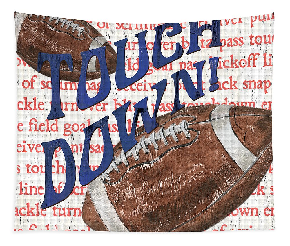 Football Tapestry featuring the painting Sports Fan Football by Debbie DeWitt