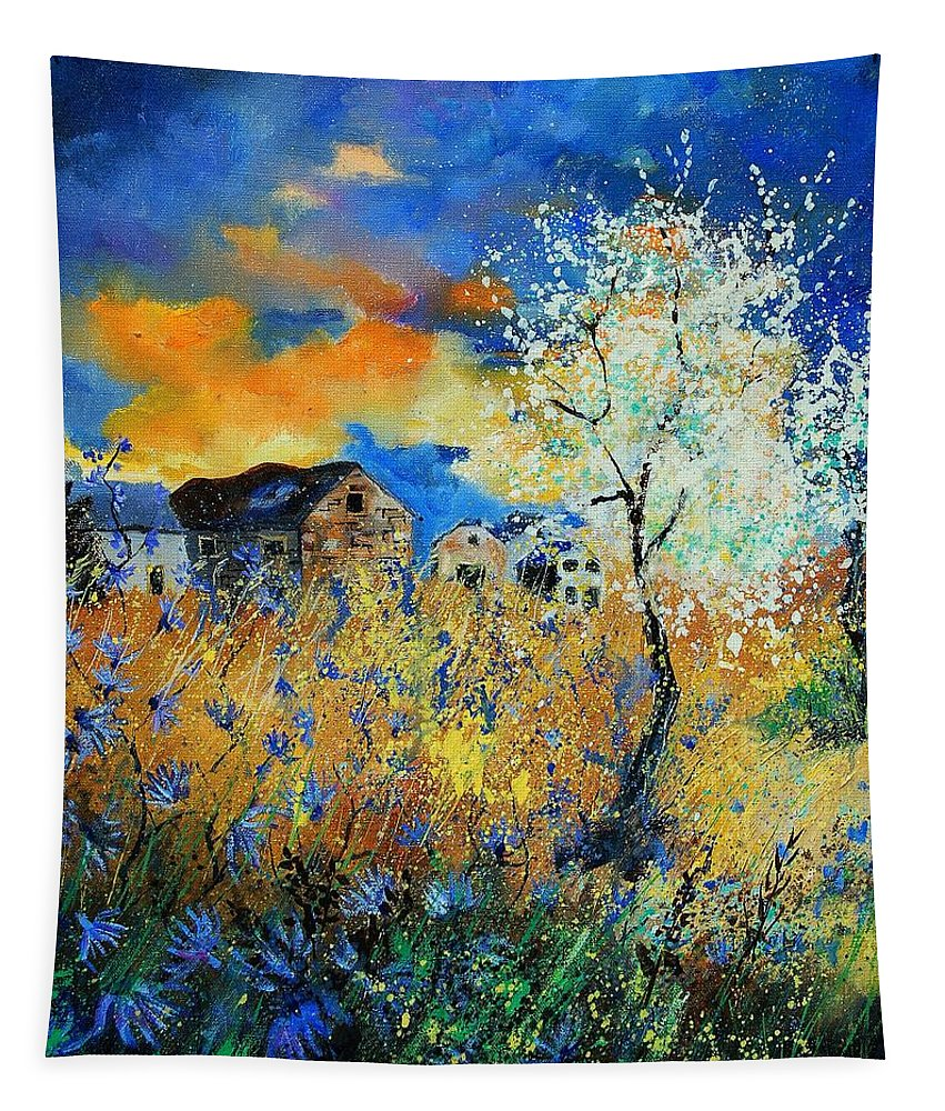 Flowers Tapestry featuring the painting Spring 67 by Pol Ledent