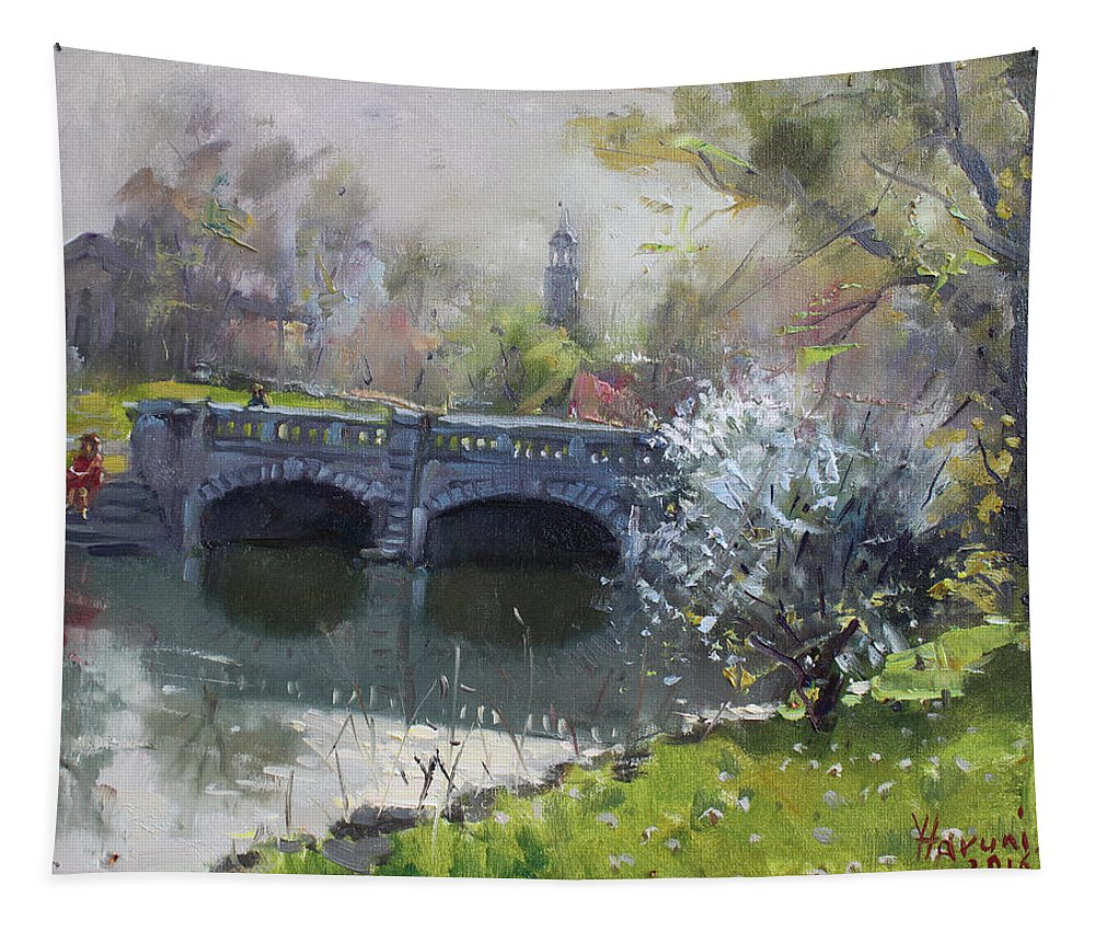 Spring Tapestry featuring the painting Spring At Delaware Lake Buffalo by Ylli Haruni