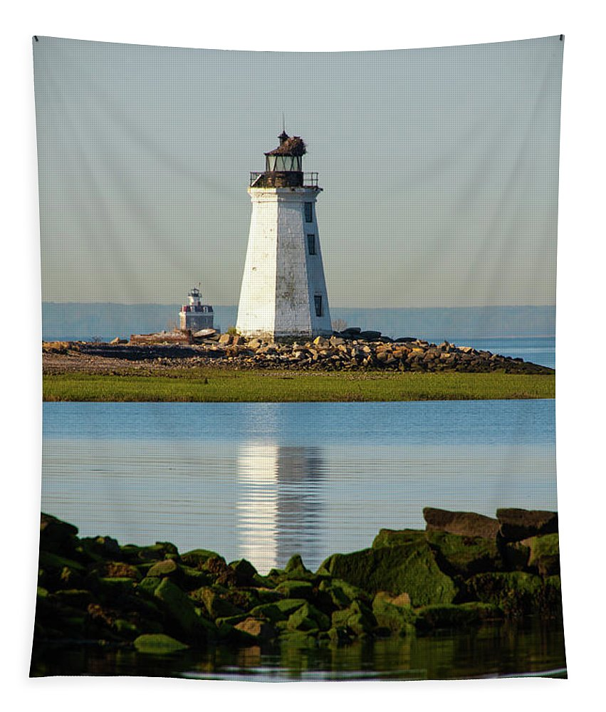 Bridgeports Lighthouse Tapestry featuring the photograph Spring At The Lighthouse by Karol Livote
