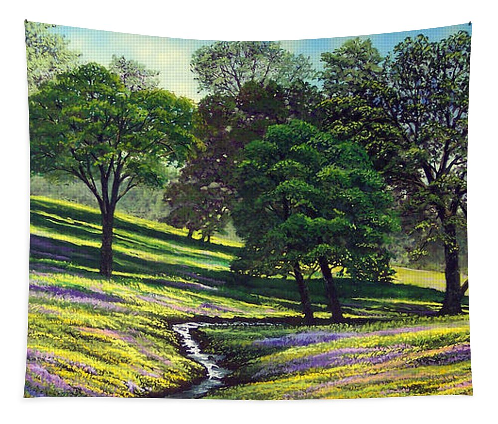 Landscape Tapestry featuring the painting Spring Bloom Table Mountain by Frank Wilson