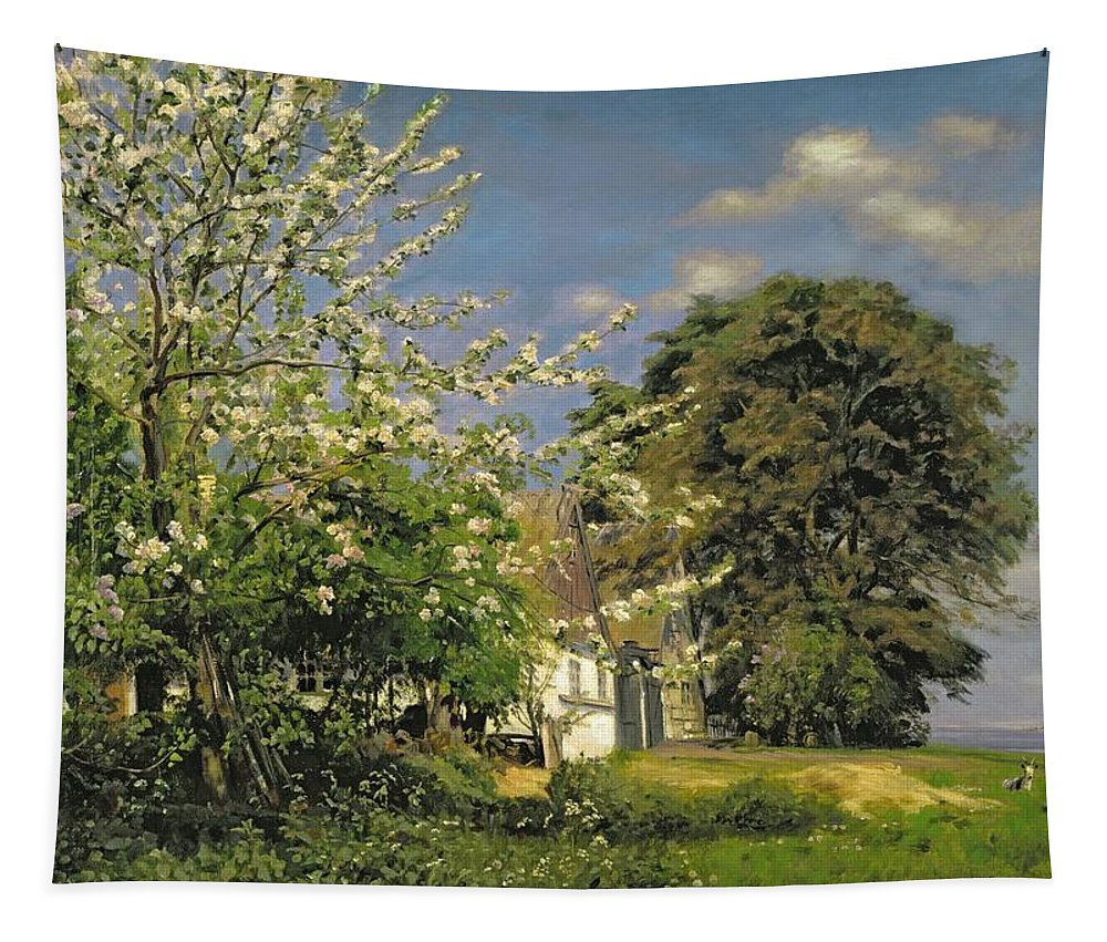 Spring Tapestry featuring the painting Spring Blossom by Christian Zacho