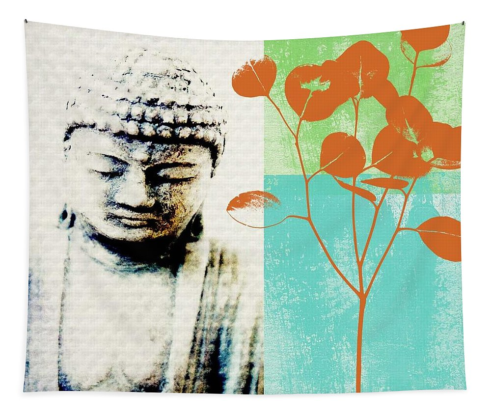 Buddha Tapestry featuring the mixed media Spring Buddha by Linda Woods
