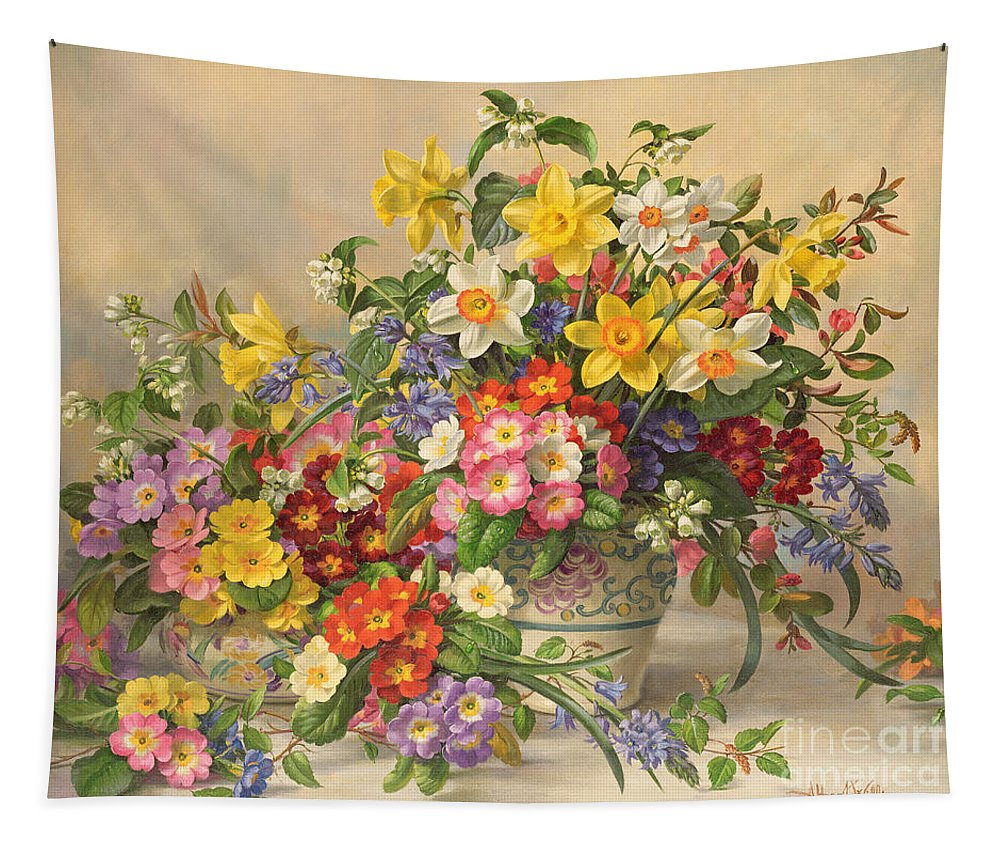 Primula; Daffodil; Primula; Narcissi; Spring Flowers; Flower; Flowers; Pool Pottery Tapestry featuring the painting Spring Flowers And Poole Pottery by Albert Williams