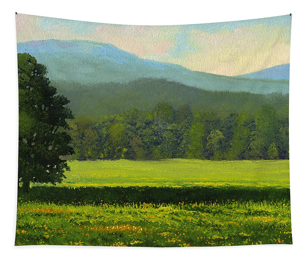 Landscape Tapestry featuring the painting Spring Flowers by Frank Wilson