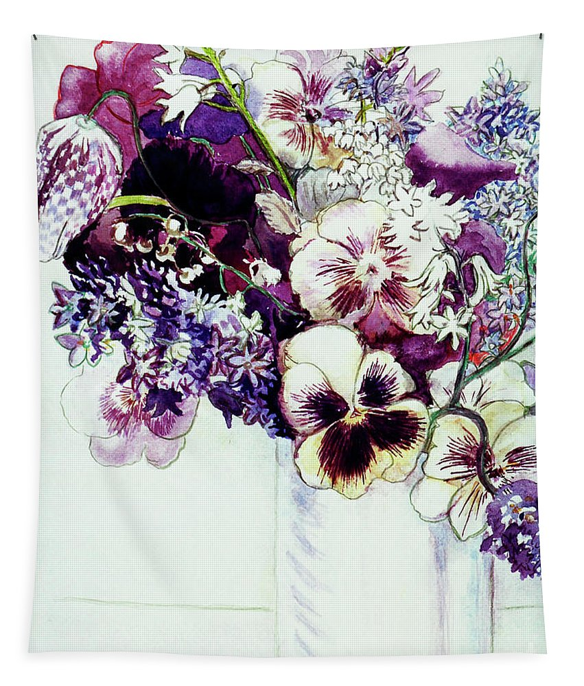 Flowers Tapestry featuring the painting Spring Flowers With Fritillaria by Joan Thewsey