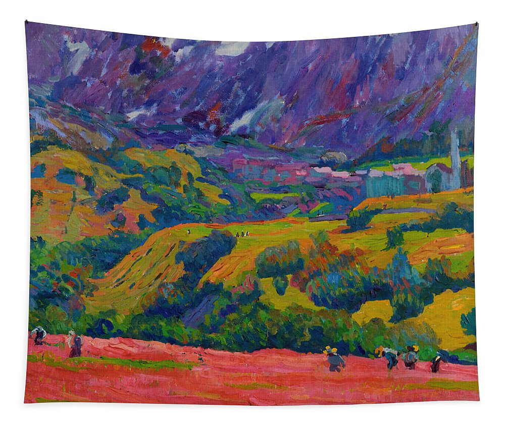 Painting Tapestry featuring the painting Spring In Bergell by Mountain Dreams
